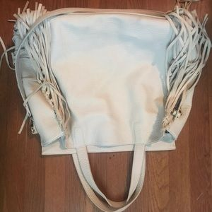 Very Large Boho Fringe Shoulder Bag - cream